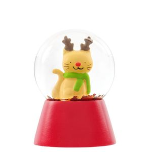 Mini Cat with Antlers Snow Globe Christmas Decoration