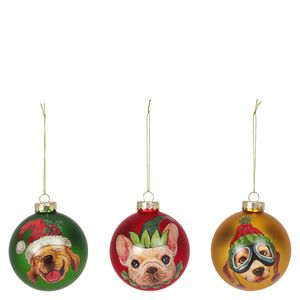 Dog Baubles Christmas Decorations - Set of 3