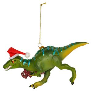 Glass Dino with Candy Cane Christmas Decoration