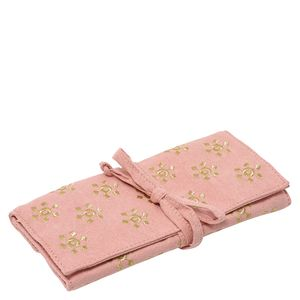 Pink embroidered jewellery roll