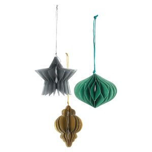 Metallic Paper Christmas Decorations - Pack of 8