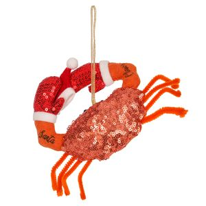 Felt Crab with Sparkles Christmas Decoration