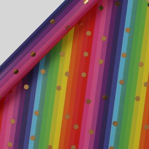 Gold dot rainbow stripe wrapping paper - 5m