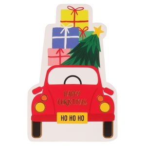Cut out car and presents Christmas postcard