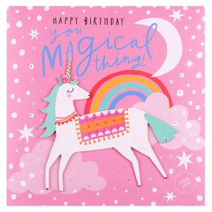 Musical magical unicorn birthday card