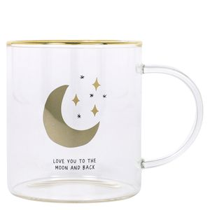Glass moon and stars mug