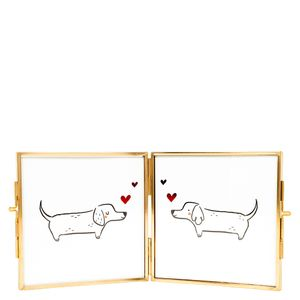 Bifold puppy love frame 4x4""
