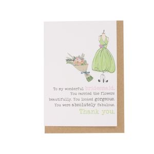Absolutely fabulous bridesmaid thank you card