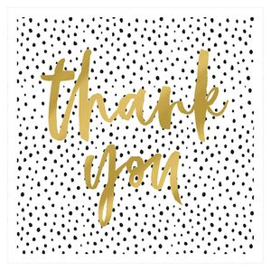 XL Spotty gold thank you card