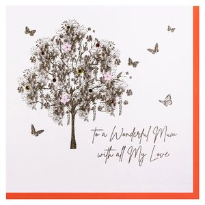 Ornate butterfly tree Mother's day card