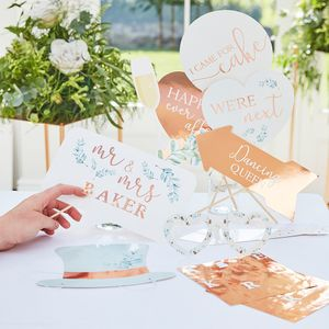 Rose gold wedding photo booth props