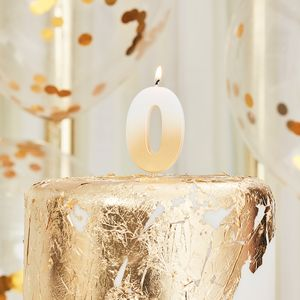 Gold number 0 candle