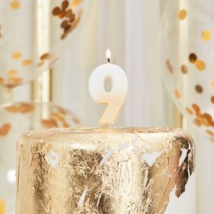 Ginger Ray gold number 9 candle