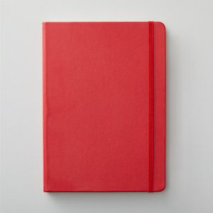 Agenzio hard red ruled large notebook