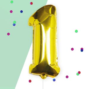 Ginger Ray for Paperchase Number 1 gold 16 inch balloon
