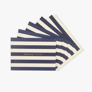 Navy stripe thank you cards - pack of 10 main image