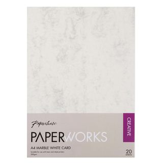 Paperworks marble white A4 card - pack of 20 main image