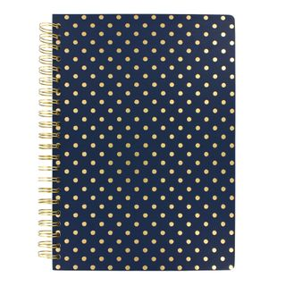 Navy spot lined A4 notebook main image