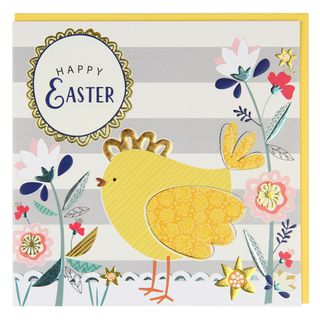 Striped Easter chick card  main image