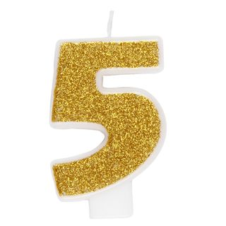 Gold number 5 birthday candle main image