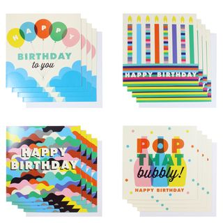 Bubbly birthday card assortment - pack of 16 main image