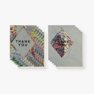 Maps foil thank you cards - pack of 12 main image