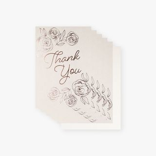 Grey rose foil floral thank you cards - pack of 10 main image