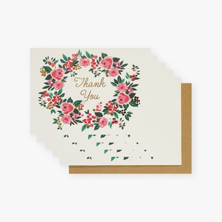 Floral wreath thank you cards - pack of 10 main image