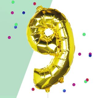 Ginger Ray for Paperchase Number 9 gold 16 inch balloon main image