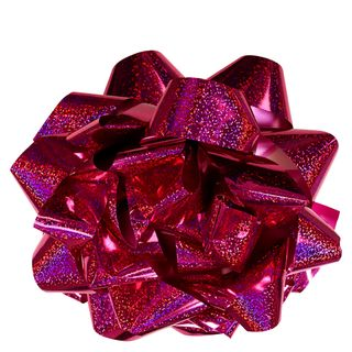 Extra-large pink holographic self-adhesive bow main image