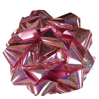 Extra-large light pink holographic self-adhesive bow main image