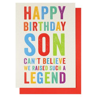 Son can't believe we raised a legend birthday card main image