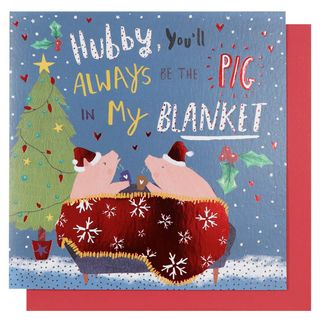 Husband pigs in blankets Christmas card main image