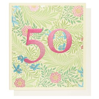 Arts and Crafts floral 50th birthday card main image