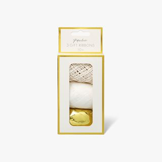 Twine white gold and silver gift ribbon - pack of 3  main image