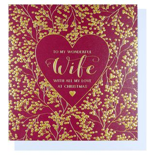 Red & gold heart wife Christmas card main image