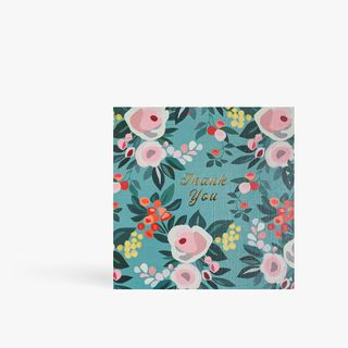 Muted floral thank you card main image