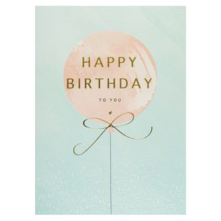 Gold-foil pink balloon happy birthday card main image