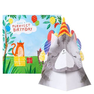 Pop out purrfect cat birthday card main image