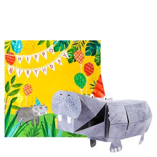 Pop-out hippo birthday card main image