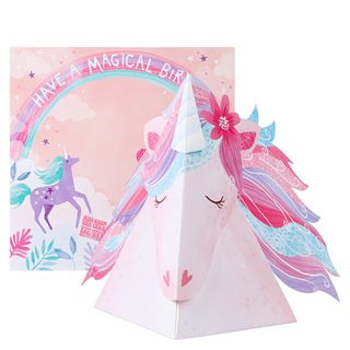 Pop out magical unicorn birthday card main image