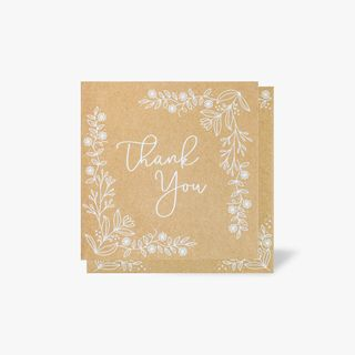 Kraft floral thank you cards - pack of 10 main image