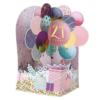 Pop out balloons 21st birthday card main image