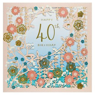 Laser cut gold floral 40th birthday card main image