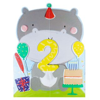 Pop out hippo 2nd birthday card main image