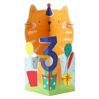 Pop out kitten 3rd birthday card main image