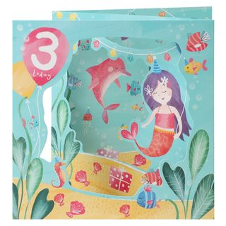 Pull out mermaid 3rd birthday card main image