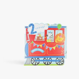 Pull out train 2nd birthday card main image