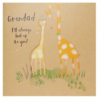 Giraffe look up to Grandad Father's day card main image
