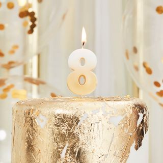 Ginger Ray gold number 8 candle main image